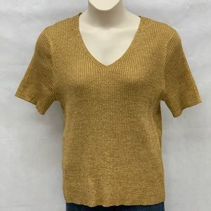 Kathy Lee gold metallic short sleeve sweater